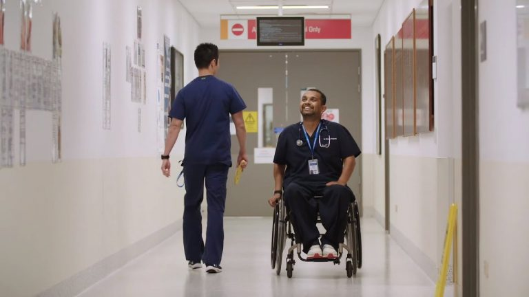 Emergency Department Dr with a wheelchair