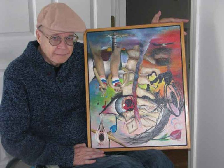 Art as an outlet: Montag, who has been a quadriplegic for 40 years, is able to paint using a special cuff