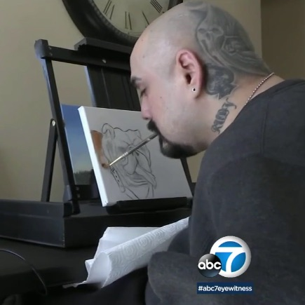 Quadriplegic artist, Frank Espinosa defies odds, uses mouth to paint