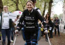 "Last April Lomas walked the London marathon in 17 days wearing a ""bionic"" suit"