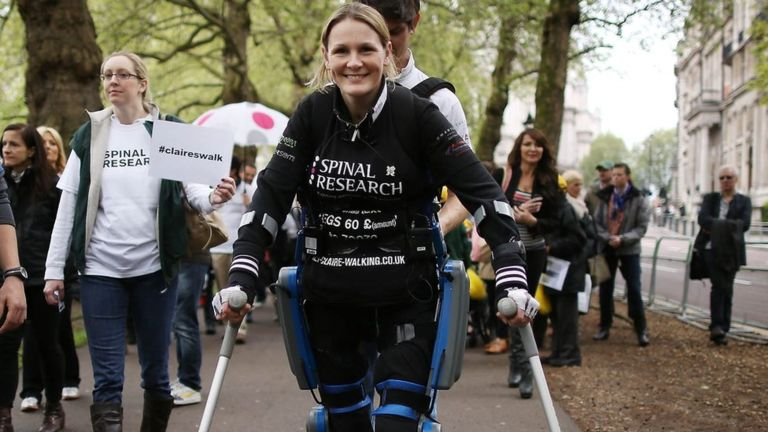 "Last April Lomas walked the London marathon in 17 days wearing a ""bionic"" suit"