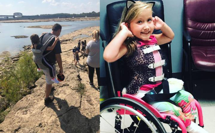 Teacher carries student with spina bifida on back so she can enjoy field trip